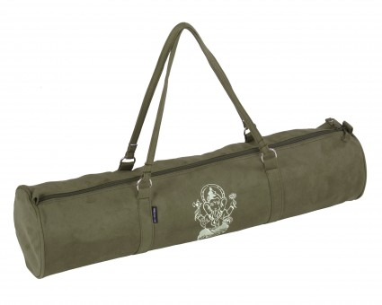 Yoga carrybag style - zip - velour - art collection - 69 cm olive - Ganesha
