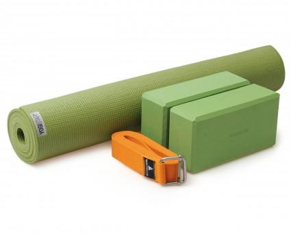 Yoga-Set Kick-It - Two (Yoga mat + 2x yoga block + yoga belt) grass