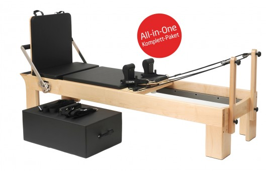 "Pilates Reformer Ahorn ""Therapeutic Leg"" (inkl. Sitting Box und Jump Board) - schwarz"
