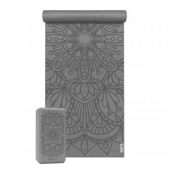 Yoga-Set Starter Edition - lotus mandala (Yogamatte + 1 Yogablock) graphit