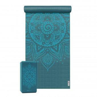 Yoga-Set Starter Edition - spiral mandala (Yogamatte + 1 Yogablock)