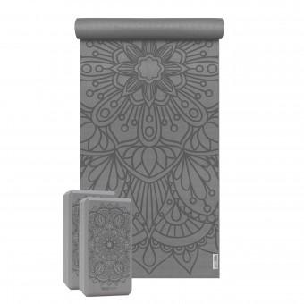 Yoga-Set Starter Edition - lotus mandala (Yogamatte + 2 Yogablöcke) graphit