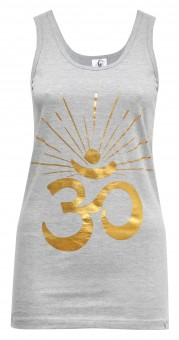 "Yoga-Tank-Top ""OM sunray"" - grey/gold"