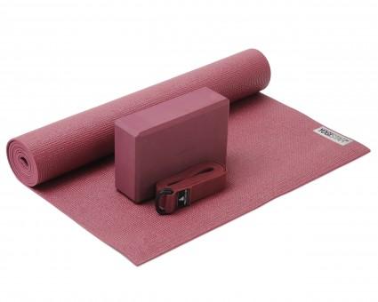 Yoga-Set Kick-It - One (Yoga mat + yoga block + yoga belt) bordeaux