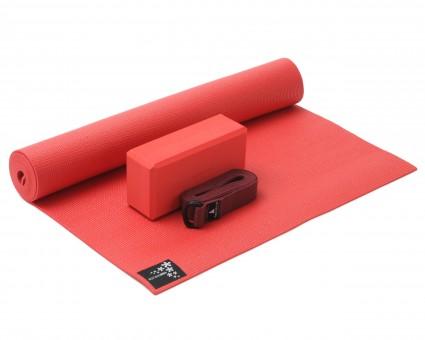 Yoga-Set Kick-It - One (Yoga mat + yoga block + yoga belt) fire red