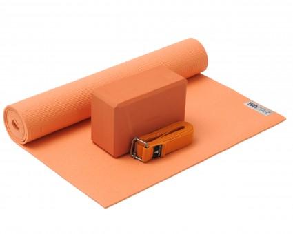 Yoga-Set Kick-It - One (Yoga mat + yoga block + yoga belt) terracotta