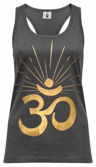 "Yoga-Racerback-Top ""OM sunray"" - darkgrey/gold"