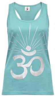 "Yoga-Racerback-Top ""OM sunray"" - mint/silver"