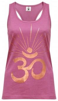 "Yoga-Racerback-Top ""OM sunray"" - rosewine/copper"