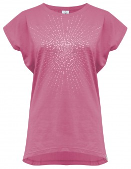"Yoga-T-Shirt ""Batwing sunray"" - rosewine/silver"