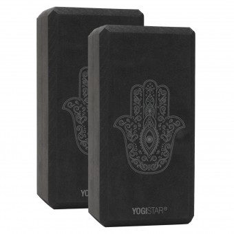 Yogablock yogiblock® basic - art collection - hand of fatima - zen black - 2er-Set
