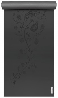 Yogamatte ultra grip - indian flower, black-grey