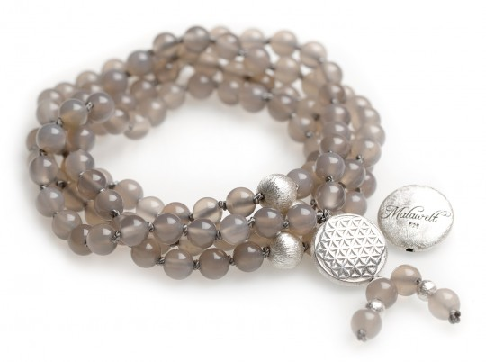 Mala chain made of agate grey (with flower of life silver)