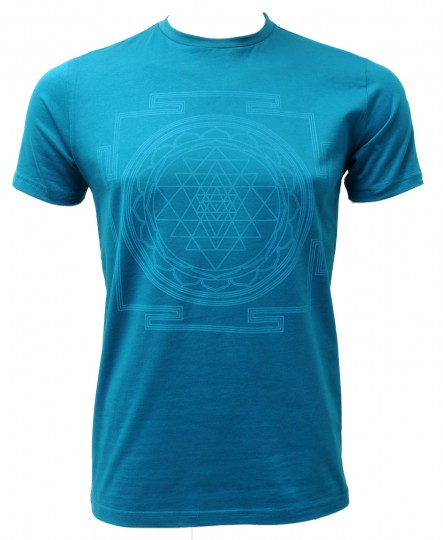 "Yoga-T-Shirt ""Sri Yantra"" - men - petrol"
