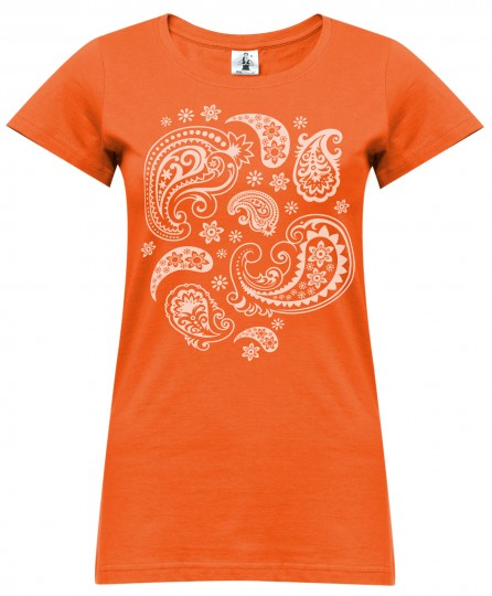 "Yoga-T-Shirt ""paisley"" - orange"