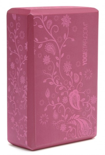 Yoga block 'Indian flower', wine red