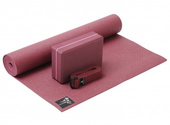 Yoga-Set kick it - one (Yogamatte + Yogablock + Yogagurt) bordeaux (yogiblock big)