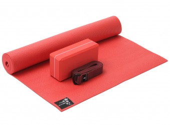 Yoga-Set kick it - one (Yogamatte + Yogablock + Yogagurt) fire red (yogiblock basic)