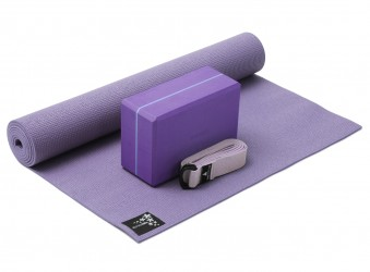 Yoga-Set kick it - one (Yogamatte + Yogablock + Yogagurt) flieder (yogiblock supersize)
