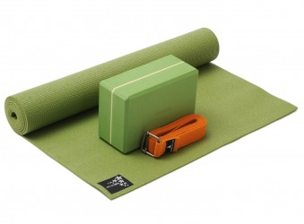 Yoga-Set kick it - one (Yogamatte + Yogablock + Yogagurt) kiwi (yogiblock supersize)