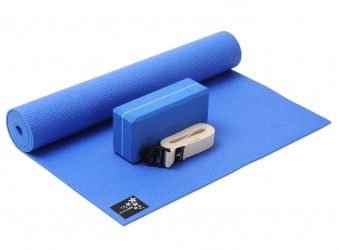 Yoga-Set kick it - one (Yogamatte + Yogablock + Yogagurt) blue (yogiblock basic)