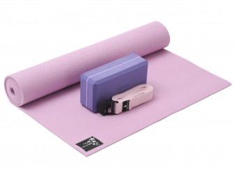 Yoga-Set kick it - one (Yogamatte + Yogablock + Yogagurt) rose (yogiblock basic)