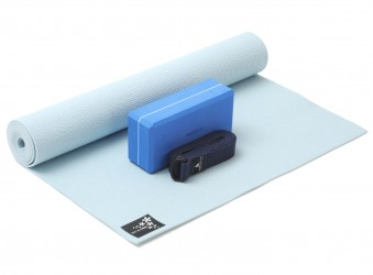 Yoga-Set kick it - one (Yogamatte + Yogablock + Yogagurt) sky (yogiblock basic)
