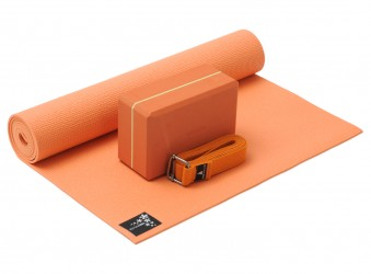 Yoga-Set kick it - one (Yogamatte + Yogablock + Yogagurt) terracotta (yogiblock supersize)