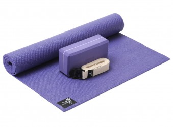 Yoga-Set kick it - one (Yogamatte + Yogablock + Yogagurt) violet (yogiblock basic)