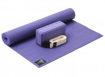 Yoga-Set kick it - one (Yogamatte + Yogablock + Yogagurt) violet