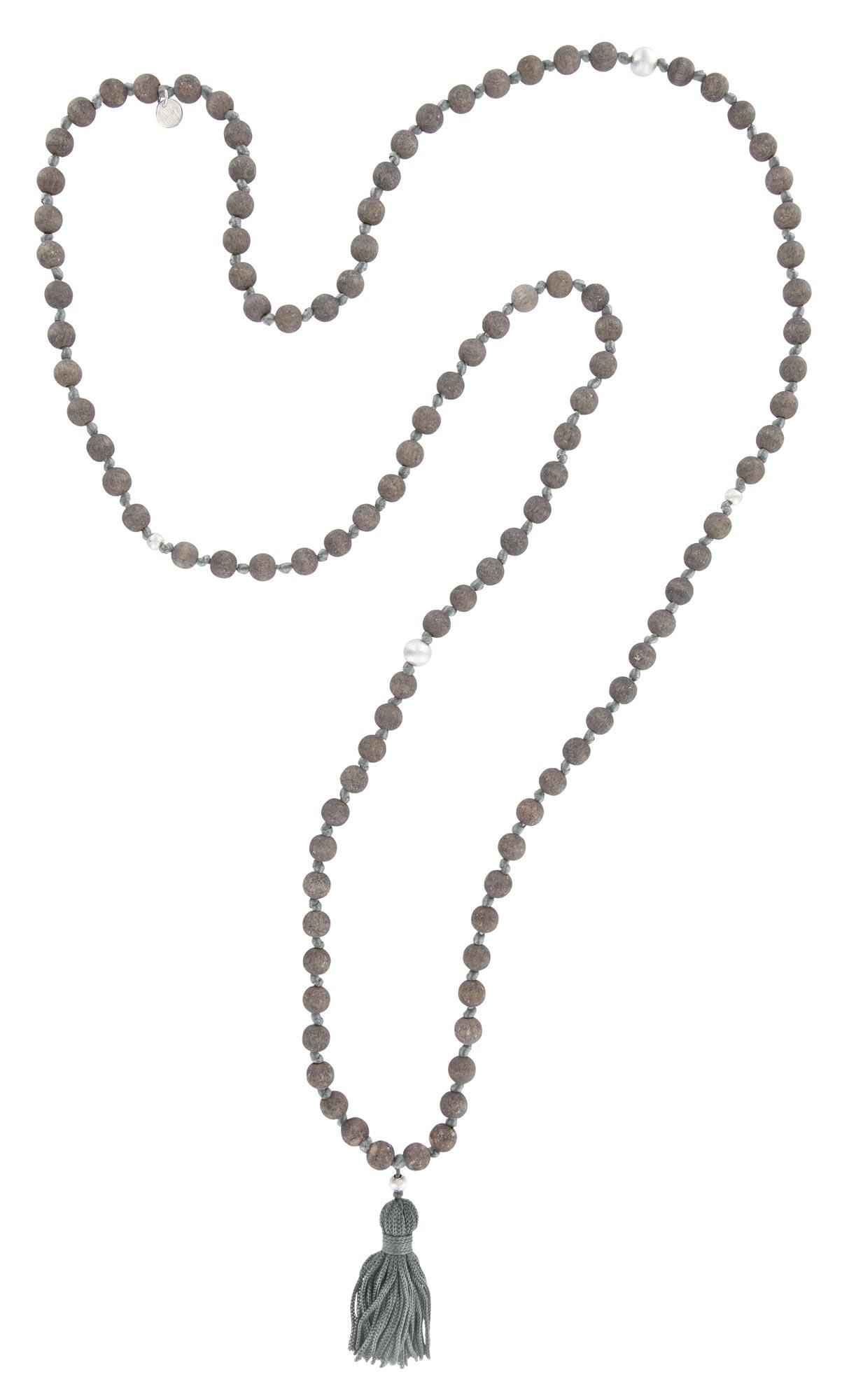 """Mala-Kette """"Vintage"""" - Holz Grau, Quaste Silbergrau, Perle Silber"""