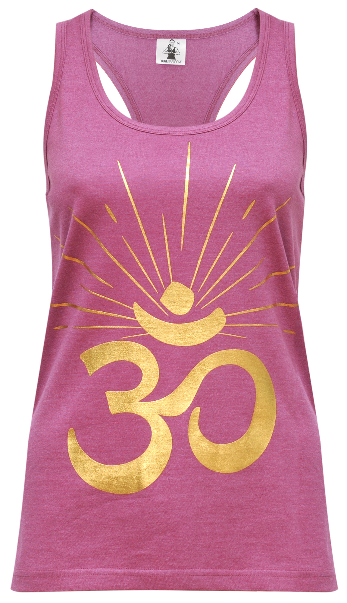 "Yoga-Racerback-Top ""OM sunray"" - rosewine/gold"