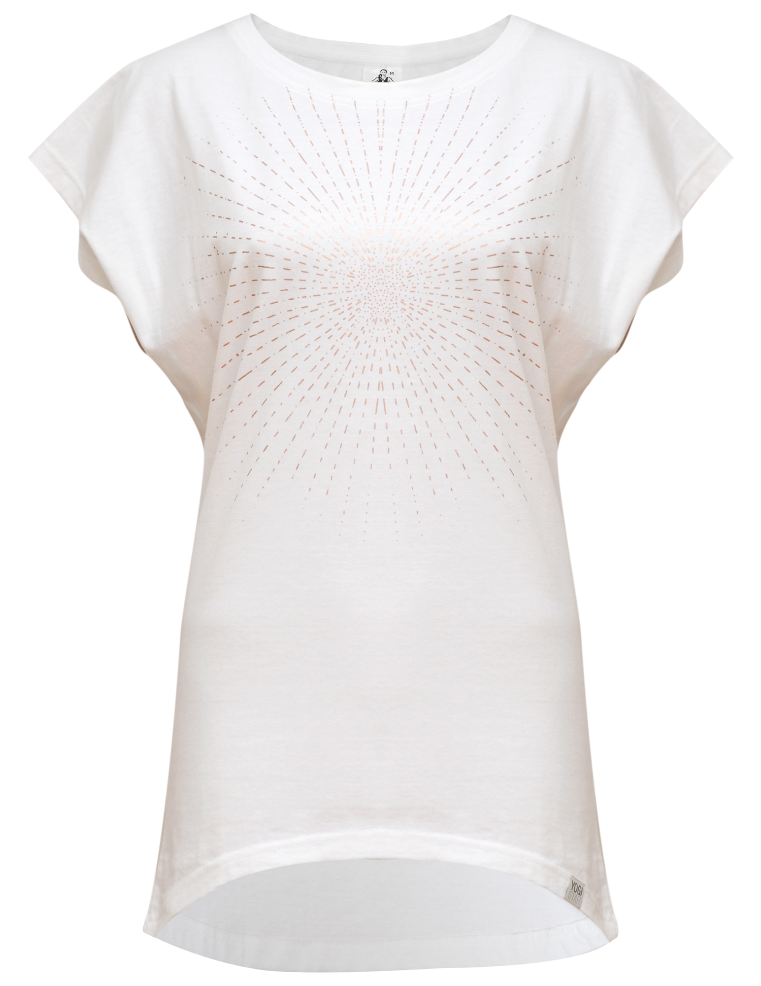"Yoga-T-Shirt ""Batwing sunray"" - white/copper"